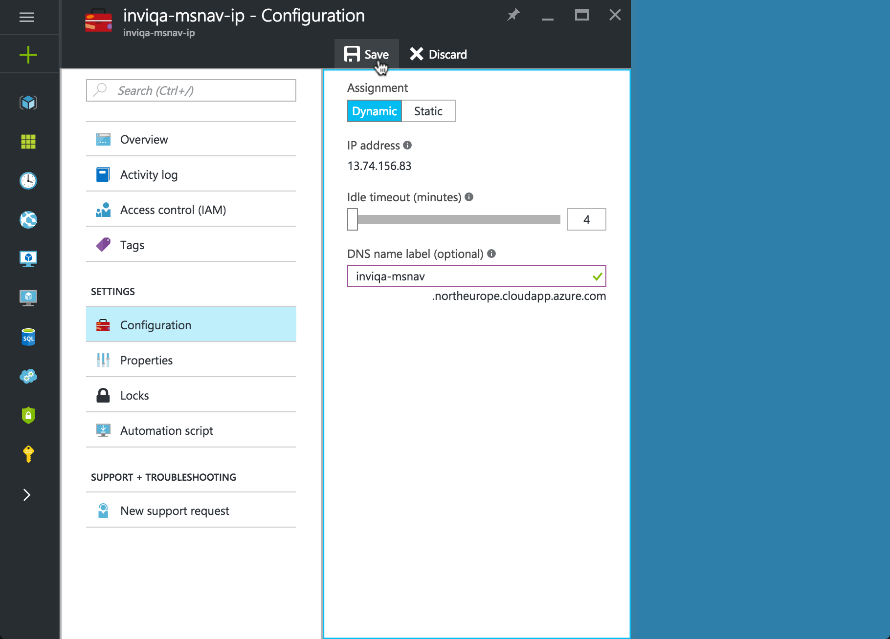 Screenshot of Configuration on Azure DNS Server
