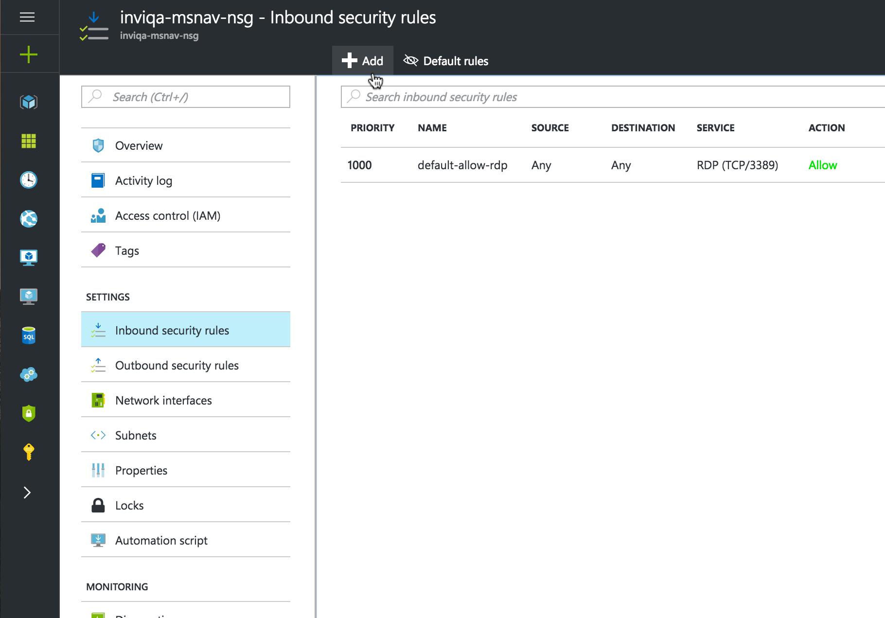 Screenshot of adding firewall rules