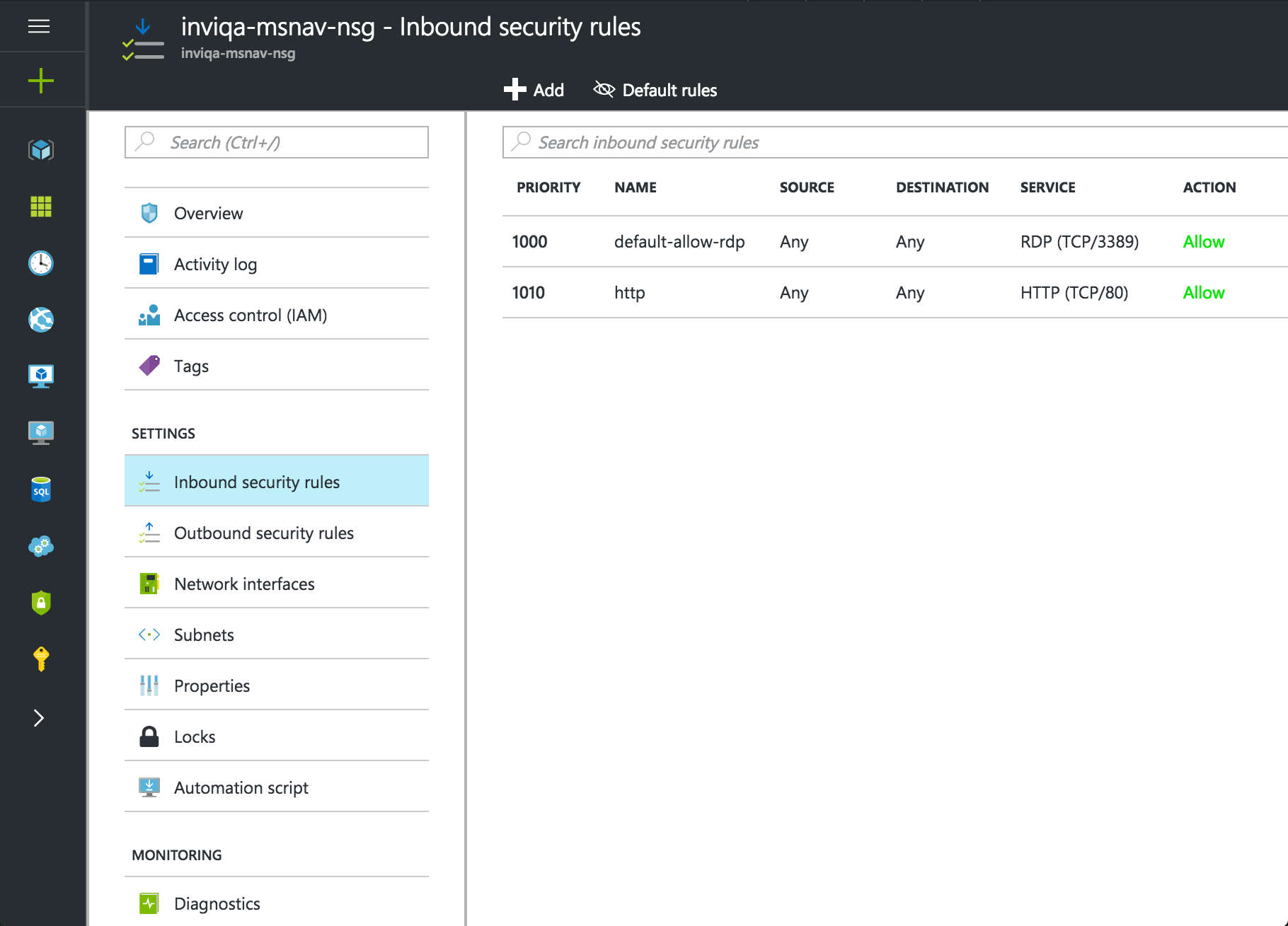 Screenshot of adding firewall rule next step