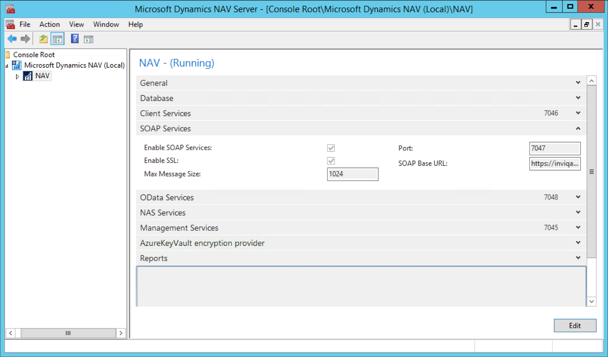 Dynamics NAV server with SOAP Services enabled