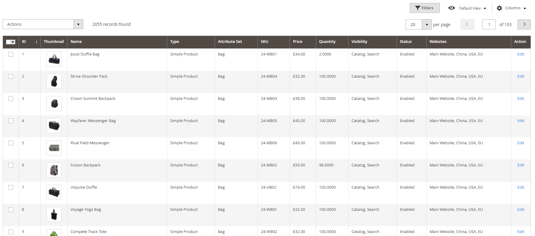 Screenshot of structured product catalogue admin view