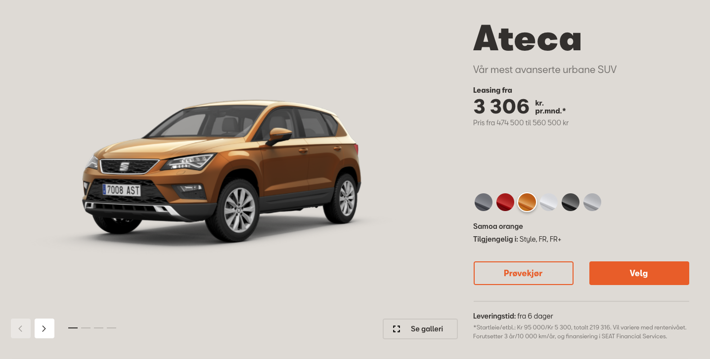 Seat Norway website