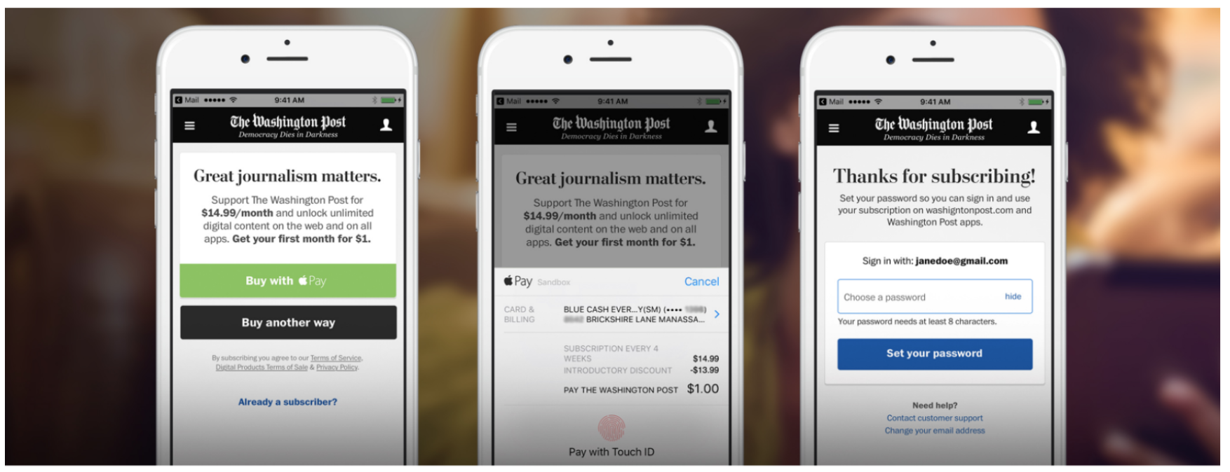 The Washington Post 3-step payment process on mobile