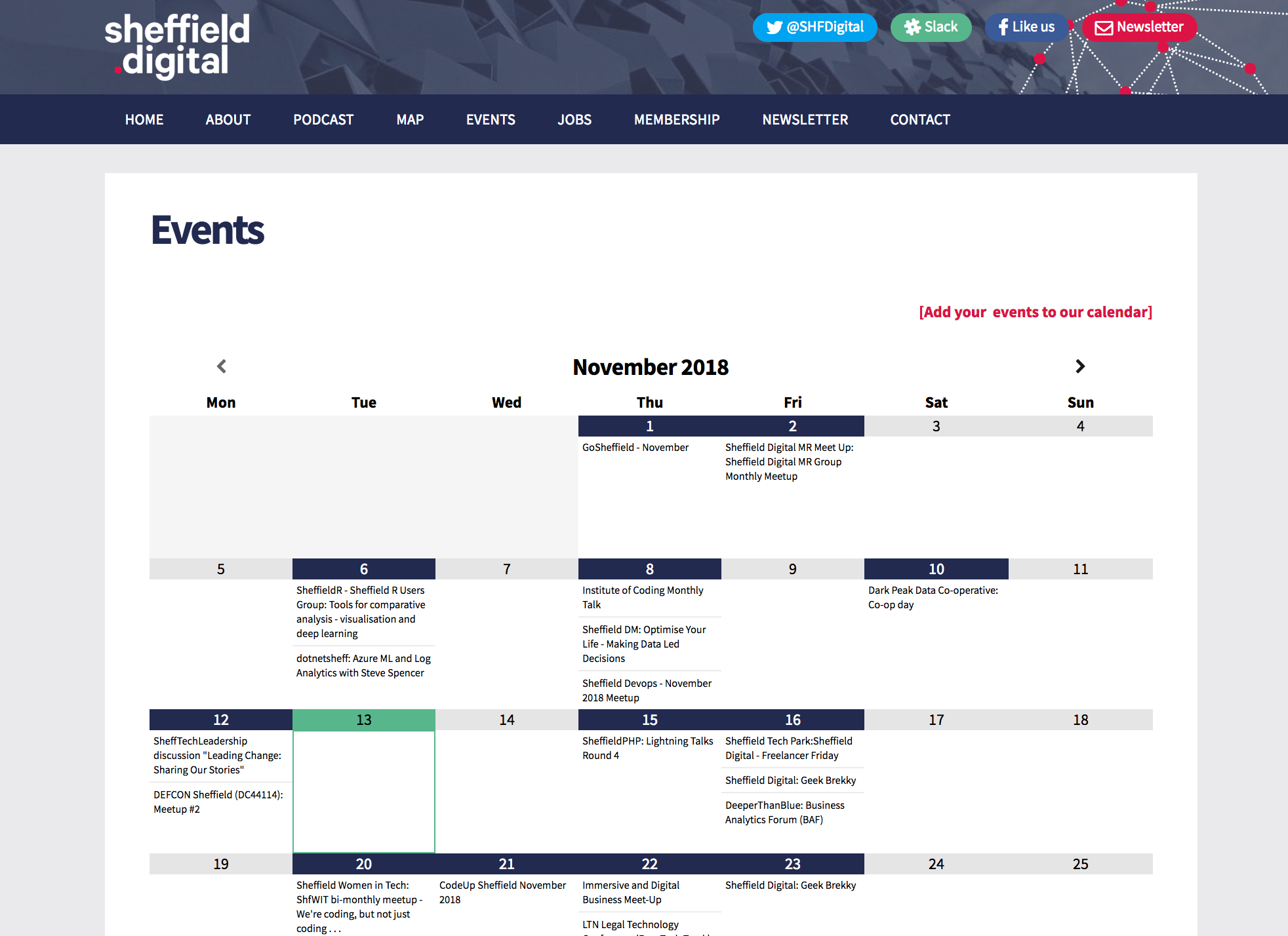 Sheffield Digital Events Calendar